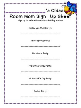 class party sign up sheet