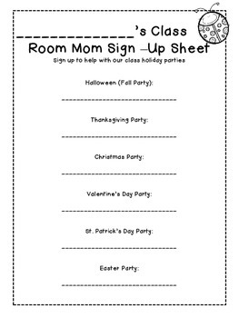 class party sign up sheet for room moms by cottage to classroom tpt
