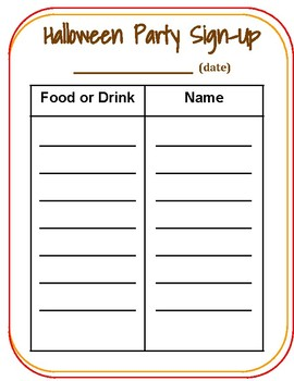 Class Party Sign up Forms