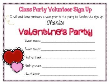 Class Party Snack Sign Up for Open House Night