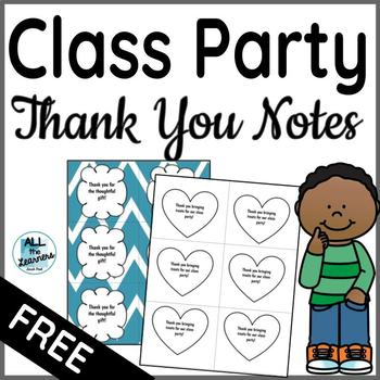 Class Party Thank You Notes