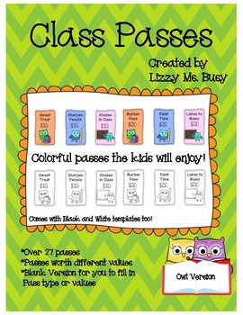Class Passes- Owls