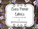 Class Period Labels - Rustic Floral
