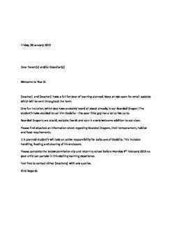 Class Pet Parent Letter