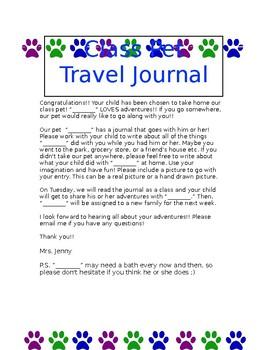 Class Pet Travel Journal-Editable