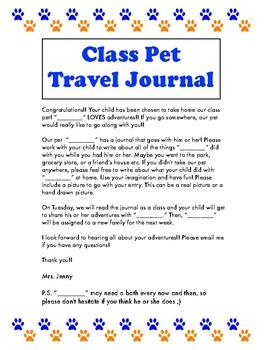 Class Pet Travel Journal NON EDITABLE