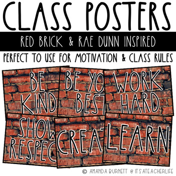 Class Poster | Rae Dunn Inspired with Red Brick