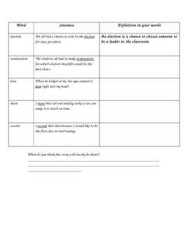Class President Novel Study Anticipation Guide