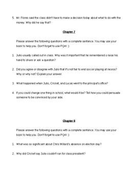 Class President (by Johanna Hurtwitz) Novel Study