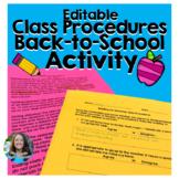 Back to School Class Procedures Activity