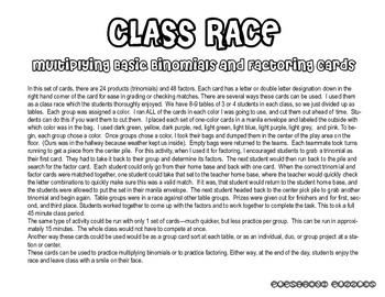 Class Race - Multiplying Binomials or Factoring Cards - PP