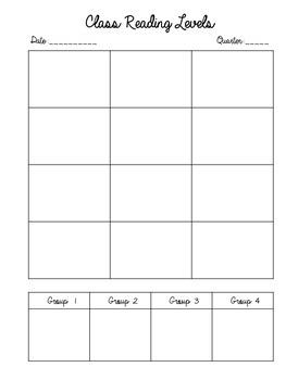 Class Reading Levels Chart