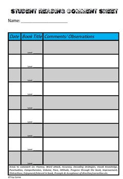 Class Reading Register & Student Reading Comment/Observation Sheet