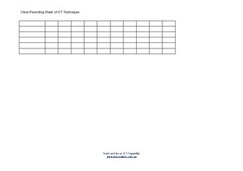 Class Recording Sheet for ICT Techniques