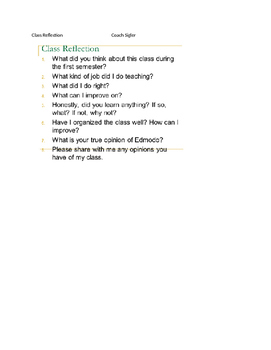 Class Reflection - end of the year, semester assignment