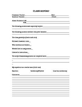 Class Report For Elementary School Substitute Teachers