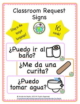 picture regarding Classroom Signs Printable named Cl Requests Symptoms Corridor Pes Printable Spanish Elements