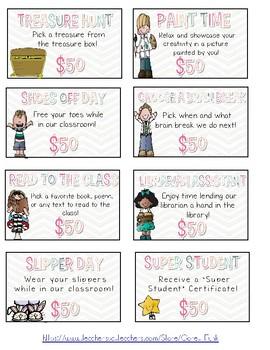 Class Reward Coupons and Student Credit Cards Positive Behavior Coupons