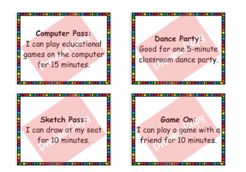 Class Rewards Kit - 28 No Cost Prizes - Editable Cards