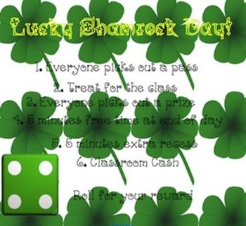 Class Rewards: Roll the Die- Lucky Shamrock Day