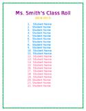 Class Roll - Editable