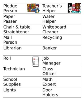 Class Room Job Signs