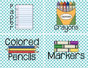 Class Room Supply Labels