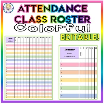Class Roster Attendance Sheet - Colorful