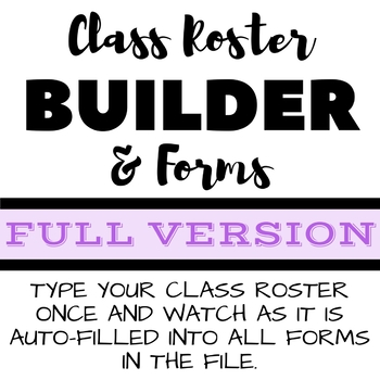 Back to School Class Roster Builder & Forms Type Class List Once