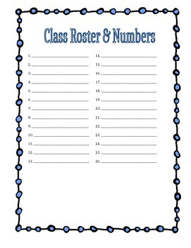Class Roster and Number Sheet