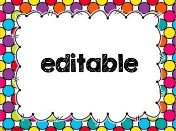 Editable Class Rules: Rainbow Polka Dots