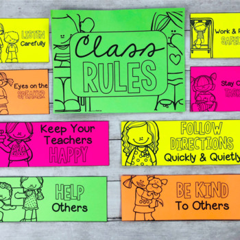 Classroom Rules Pocket Chart Cards for Classroom Management - EDITABLE