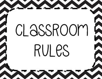Class Rules / Classroom Rules / Chevron / Editable