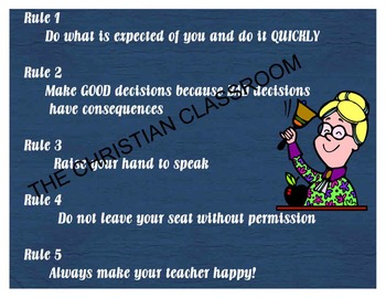 Class Rules 8 by 11 printable