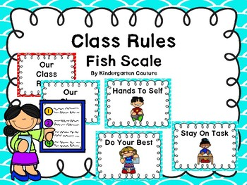 Class Rules And Posters -(Fish Scale Border Teal)