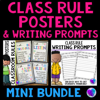 Classroom Rule Poster and Writing Prompt MINI BUNDLE
