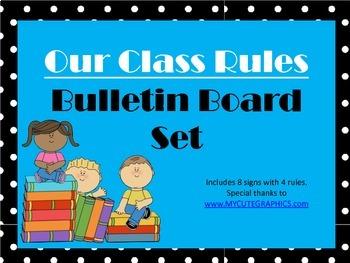 Class Rules Bulletin Board Set (black and white polka dots)