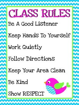 Class Rules- Chevron with birds