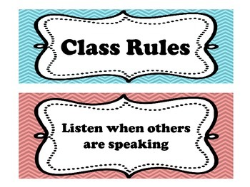 Class Rules- Chevron (1st Grade)