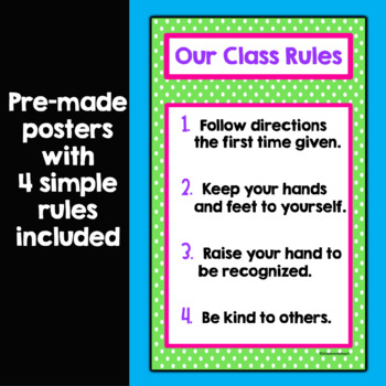 Class Rules Display Posters- Polka Dot OR Chevron Themed