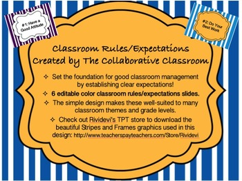 Class Rules / Expectations Bold Bright Colorful Style Posters *Editable*