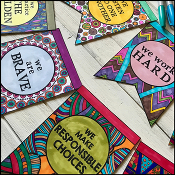 "Classroom Rules, Expectations & Beliefs COLORING BANNER - ""In Our Class"" Bunting"