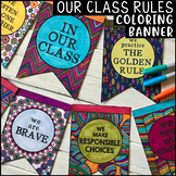 """Classroom Rules, Expectations & Beliefs COLORING BANNER - """"In Our Class"""" Bunting"""