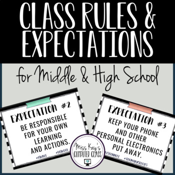 Class Rules & Expectations for Middle & High School: B&W Stripes w/ Washi