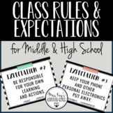 Class Rules & Expectations for Middle & High School: B&W S