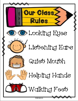 Geeky image with kindergarten classroom rules printable