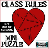 Class Rules Heart Mini Puzzle Interactive Notebook First Day of school