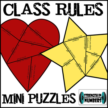 Class Rules Heart and Star Mini Puzzle Set INB First Day of School