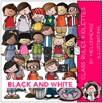 Melonheadz: Class Rules clip art - Kidlettes - BLACK AND WHITE