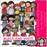 Class Rules clip art - Kidlettes - BLACK AND WHITE- by Melonheadz
